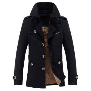 Turn-Down Collar Epaulet Embellished Single-Breasted Fleece Coat - Black - M
