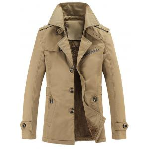 Turn-Down Collar Epaulet Embellished Single-Breasted Fleece Coat