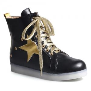 Eyelets Led Luminous Ankle Boots