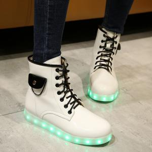 Lights Up Led Luminous Ankle Boots - White - 37