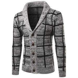 Shawl Collar Button Up Checked Cardigan - Gray - M