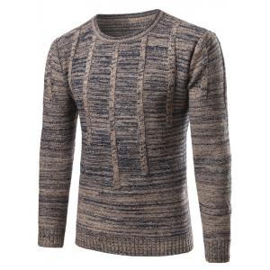 Crew Neck Vertical Stripe Kink Knit Blends Long Sleeve Sweater