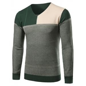 V-Neck Color Block Splicing Sweater