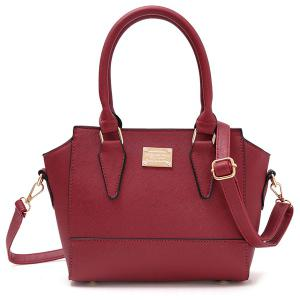 Metallic Zip PU Leather Tote Bag - Deep Red - 42