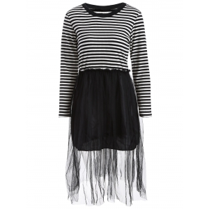 Mesh Spliced Striped Faux Twinset Sweater Dress