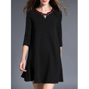 3/4 Sleeve Polka Dot Mini Dress