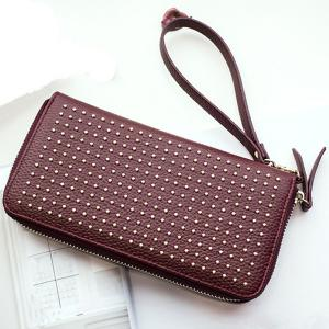 Rivet Studs Zip Around Wristlet Wallet - Wine Red