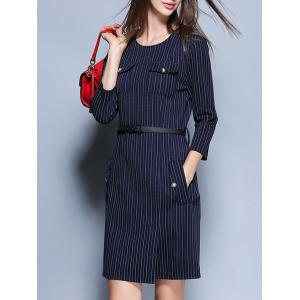 Striped Pockets Belted Pencil Dress