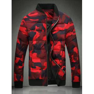 Stand Collar Plus Size Camouflage Zip-Up Cotton-Padded Jacket - Red - M