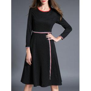 Long Sleeve Polka Dot Fit and Flare Dress