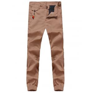 Beading Embellished Zipper Fly Chino Jogger Pants