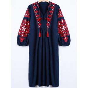 Casual Lantern Sleeve Embroidered Dress - Cadetblue - L