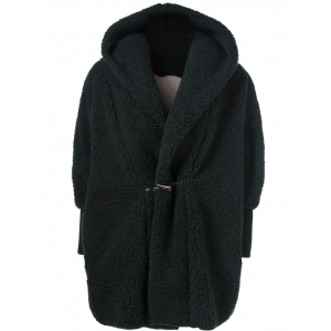 One Button Fuzzy Hooded Coat