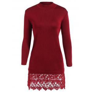 Lacework Splicing Long Sleeve Sweater Dress - Wine Red - One Size