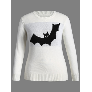 Halloween Bat Pattern Plus Size Sweater - White - Xl