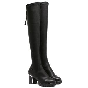 Platform PU Leather Back Zip Thigh Boots