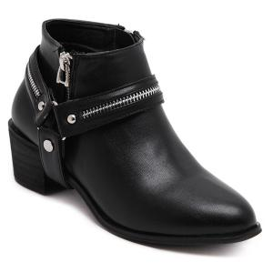 Pointed Toe Zip Metal Ankle Boots - Black - 37