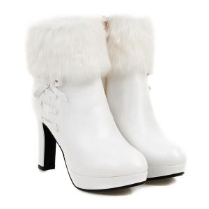 Bow Faux Fur Platform Ankle Boots - White - 37