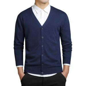 Slimming V-Neck Single Breasted Cardigan - Deep Blue - Xl