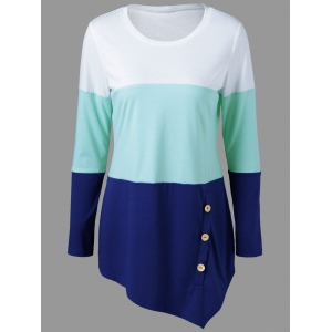 Button Embellished Asymmetrical T-Shirt