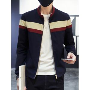 Color Splicing Strand Collar Long Sleeves Jacket