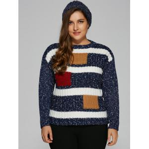 Jewel Neck Plus Size Color Block Sweater