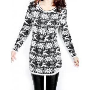 Christmas Jacquard Loose Sweater - Black - One Size