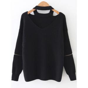 Zipper Sleeve Cut Out Choker Knitwear