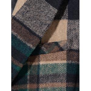 Double Breasted Lapel Plaid Wool Blend Coat -