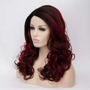 Long Highlight Wavy Side Parting Synthetic Wig -