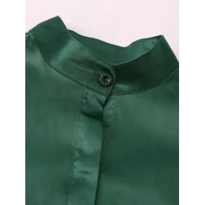 Stand Neck Satin Boyfriend Shirt - GREEN S