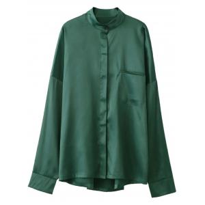 Stand Neck Satin Boyfriend Shirt