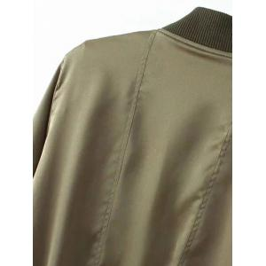 Stand Neck Multiple Zippers Bomber Jacket - ARMY GREEN S
