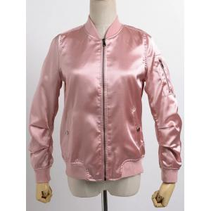 Stand Neck Satin Thin Fall Bomber Jacket - Pink - L