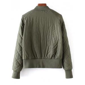 Stand Neck Argyle Padded Jacket - ARMY GREEN M