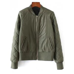 Stand Neck Argyle Padded Jacket - Army Green - S