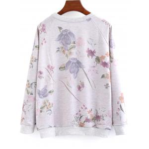 Letter and Floral Loose Sweatshirt -