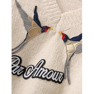 Denim Spliced Embroidery Sweater -