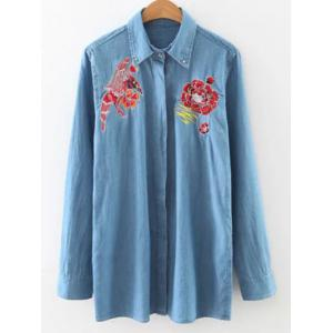 Long Sleeve Flower Embroidered Denim Shirt - Light Blue - M