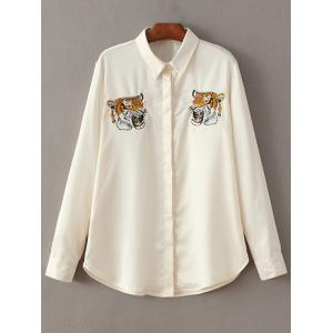 Tiger Embroidered Fitting Shirt