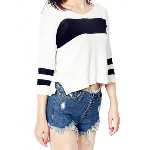 High Low Color Block Loose Sweater -
