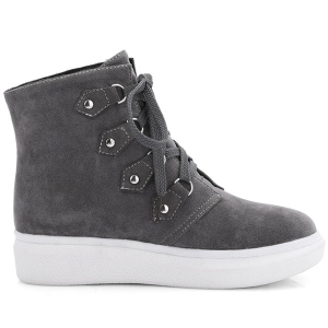 Metal Flat Heel Lace-Up Ankle Boots - GRAY 39