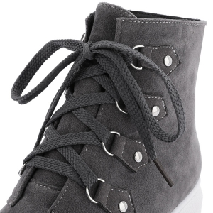 Metal Flat Heel Lace-Up Ankle Boots -