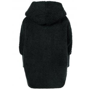 One Button Fuzzy Hooded Coat -