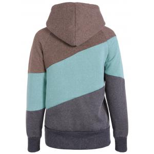 Casual Color Block Long Sleeves Hoodie For Women - GRAY M