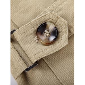 Turn-Down Collar Epaulet Embellished Single-Breasted Fleece Coat - EARTHY M