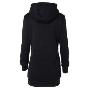 Hooded Long Sleeve Drawstring Hoodie Dress - BLACK 2XL