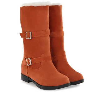 Double Buckles Flat Heel Mid Calf Boots - YELLOW ORANGE 40
