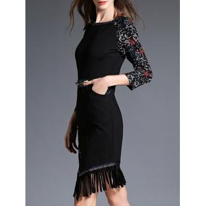 Asymmetric Fringed Printed Dress -
