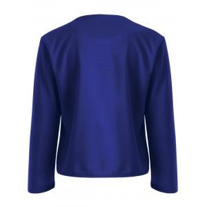 Collarless Slim  Fit Short Jacket - SAPPHIRE BLUE M